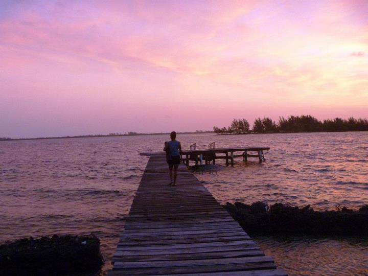 yoga at Little Cay dock sunrise